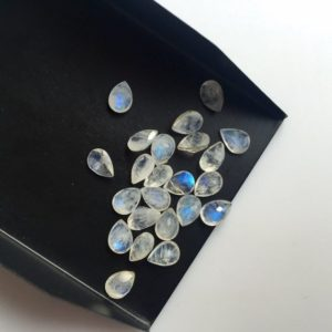 Shop Rainbow Moonstone Faceted Beads! 20 Pieces 7x5mm Rainbow Moonstone Pear Shaped Faceted Flashy Blue/White Color Loose Cabochons SKU-MS20 | Natural genuine faceted Rainbow Moonstone beads for beading and jewelry making.  #jewelry #beads #beadedjewelry #diyjewelry #jewelrymaking #beadstore #beading #affiliate #ad