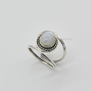 Shop Rainbow Moonstone Rings! Rainbow Moonstone Ring, Handmade Ring, Unique Ring, Gemstone Ring, 925 Silver Ring, Daily Wear Ring, Blue Fire Moonstone Ring, Oxidized Ring | Natural genuine Rainbow Moonstone rings, simple unique handcrafted gemstone rings. #rings #jewelry #shopping #gift #handmade #fashion #style #affiliate #ad