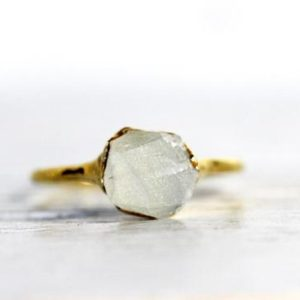 Shop Rainbow Moonstone Rings! Raw Moonstone Ring –  Rainbow Moonstone Jewelry – June Birthstone – Silver Moonstone Ring – Raw Crystal Ring | Natural genuine Rainbow Moonstone rings, simple unique handcrafted gemstone rings. #rings #jewelry #shopping #gift #handmade #fashion #style #affiliate #ad