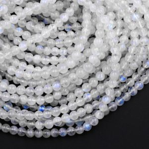 "AA Natural Rainbow Moonstone 4mm 6mm 8mm 10mm 12mm Round Beads Blue Flashes 15.5"" Strand 