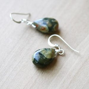 Green Stone Earrings Dangle . Rhyolite Earrings . Teardrop Earrings Gemstone | Natural genuine Rainforest Jasper jewelry. Buy crystal jewelry, handmade handcrafted artisan jewelry for women.  Unique handmade gift ideas. #jewelry #beadedjewelry #beadedjewelry #gift #shopping #handmadejewelry #fashion #style #product #jewelry #affiliate #ad