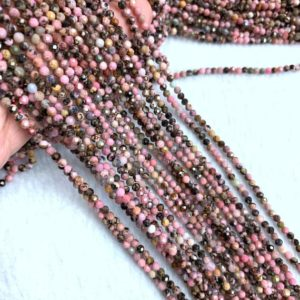 Shop Rhodonite Faceted Beads! Tiny Rhodonite Micro Faceted Beads 2mm 3mm 4mm, Natural Rhodonite Matrix Spacers Beads, Pink Black Gemstone, Pink Vintage Jewelry Supplies | Natural genuine faceted Rhodonite beads for beading and jewelry making.  #jewelry #beads #beadedjewelry #diyjewelry #jewelrymaking #beadstore #beading #affiliate #ad