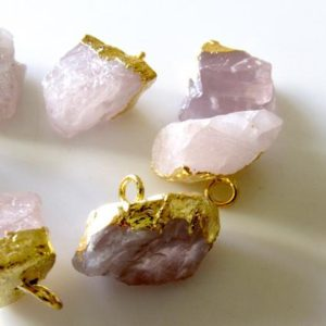 Shop Rose Quartz Chip & Nugget Beads! Raw Rose Quartz Single Loop Connectors, Raw Gemstone Connectors, Rose Quartz Crystal, Rose Quartz Rough, 5 Pieces, 20-18mm, SKU- | Natural genuine chip Rose Quartz beads for beading and jewelry making.  #jewelry #beads #beadedjewelry #diyjewelry #jewelrymaking #beadstore #beading #affiliate #ad