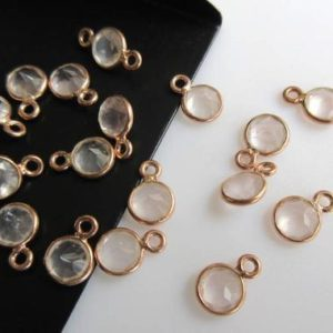 Shop Rose Quartz Round Beads! 10 Pieces Rose Quartz Gemstone Cabochon Connectors, 925 Sterling Silver Single/Double Bail Round Bezel Gold/ Rose Gold Connectors, GDS892 | Natural genuine round Rose Quartz beads for beading and jewelry making.  #jewelry #beads #beadedjewelry #diyjewelry #jewelrymaking #beadstore #beading #affiliate #ad