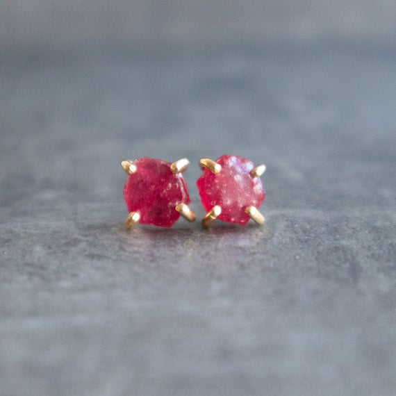 Natural Raw Ruby Stud Earrings In Gold & Silver, Raw Stone Stud Earrings, Crystal Earrings, July Birthstone Ruby Jewelry Gifts For Women