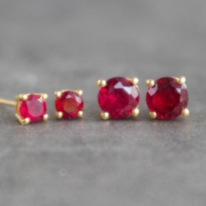Ruby Stud Earrings, Ruby Earrings Studs, Ruby Jewelry, Gold Ruby Earrings, Birthstone Jewelry, 40th Anniversary Gift for Wife, Ruby Studs | Natural genuine Array earrings. Buy crystal jewelry, handmade handcrafted artisan jewelry for women.  Unique handmade gift ideas. #jewelry #beadedearrings #beadedjewelry #gift #shopping #handmadejewelry #fashion #style #product #earrings #affiliate #ad