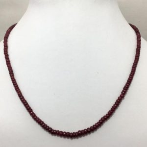 Shop Ruby Necklaces! Natural Ruby Plain Rondelle Beaded Necklace, 3mm to 4.5mm, 18 inches, Red Beads, Gemstone Necklace, Semiprecious Stone Beads | Natural genuine Ruby necklaces. Buy crystal jewelry, handmade handcrafted artisan jewelry for women.  Unique handmade gift ideas. #jewelry #beadednecklaces #beadedjewelry #gift #shopping #handmadejewelry #fashion #style #product #necklaces #affiliate #ad
