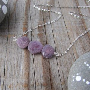 Shop Ruby Necklaces! Raw Ruby Necklace, unpolished, rough tumbled gemstone and silver necklace | Natural genuine Ruby necklaces. Buy crystal jewelry, handmade handcrafted artisan jewelry for women.  Unique handmade gift ideas. #jewelry #beadednecklaces #beadedjewelry #gift #shopping #handmadejewelry #fashion #style #product #necklaces #affiliate #ad