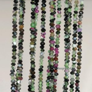 Shop Ruby Zoisite Faceted Beads! 3x2mm Ruby Zoisite Gemstone Grade B Faceted Rondelle 3x2mm Loose Beads 16 inch Full Strand (90192093-343) | Natural genuine faceted Ruby Zoisite beads for beading and jewelry making.  #jewelry #beads #beadedjewelry #diyjewelry #jewelrymaking #beadstore #beading #affiliate #ad