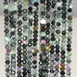 Shop Ruby Zoisite Faceted Beads! 4x3mm Dark Ruby Zoisite Gemstone Grade B Faceted Rondelle Loose Beads 16 inch Full Strand (90192083-341) | Natural genuine faceted Ruby Zoisite beads for beading and jewelry making.  #jewelry #beads #beadedjewelry #diyjewelry #jewelrymaking #beadstore #beading #affiliate #ad