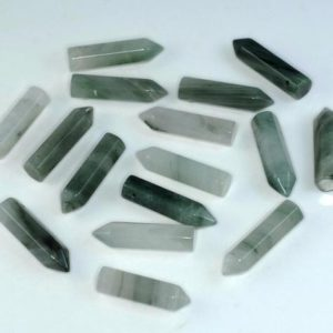 FREE USA Ship 31x8mm Green Rutile Quartz Gemstone Point Healing Chakra Hexagonal Point Focal Bead LOT 2,4,6,12 and 50 (90183768-368) | Natural genuine other-shape Rutilated Quartz beads for beading and jewelry making.  #jewelry #beads #beadedjewelry #diyjewelry #jewelrymaking #beadstore #beading #affiliate #ad