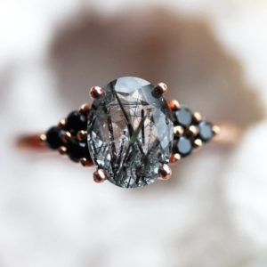 Shop Rutilated Quartz Rings! Black rutile quartz ring, Unique Quartz Ring, Black gemstone ring, Rutilated quartz ring, Organic gemstone ring | Natural genuine Rutilated Quartz rings, simple unique handcrafted gemstone rings. #rings #jewelry #shopping #gift #handmade #fashion #style #affiliate #ad