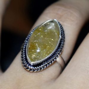 Shop Rutilated Quartz Rings! Solid 925 Stering Silver Golden Women's Ring, Rutilated Quartz Ring,Natural Yellow Rutile Ring, Handmade Jewelry, Girls for her, Rutile Ring | Natural genuine Rutilated Quartz rings, simple unique handcrafted gemstone rings. #rings #jewelry #shopping #gift #handmade #fashion #style #affiliate #ad