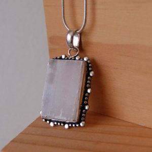 Shop Selenite Pendants! Selenite Pendant, Selenite Necklace, Immediate Energy Protection, Negative Energy Removal, Protective Talisman, Cleanse Aura Stone, Unisex | Natural genuine Selenite pendants. Buy crystal jewelry, handmade handcrafted artisan jewelry for women.  Unique handmade gift ideas. #jewelry #beadedpendants #beadedjewelry #gift #shopping #handmadejewelry #fashion #style #product #pendants #affiliate #ad