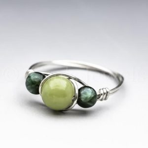 Shop Seraphinite Rings! Green Connemara Marble from Ireland & Seraphinite Clinochlore Sterling Silver Wire Wrapped Gemstone BEAD Ring – Made to Order, Ships Fast!   Natural genuine Seraphinite rings, simple unique handcrafted gemstone rings. #rings #jewelry #shopping #gift #handmade #fashion #style #affiliate #ad