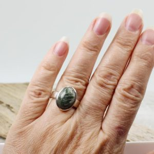 Shop Seraphinite Rings! Small Seraphinite stone ring oval shape cab stone natural seraphinite stone set on 925 sterling silver nice solid mount nickel free silver   Natural genuine Seraphinite rings, simple unique handcrafted gemstone rings. #rings #jewelry #shopping #gift #handmade #fashion #style #affiliate #ad