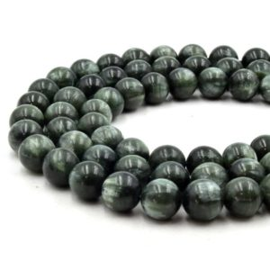 Shop Seraphinite Beads! Natural Seraphinite Beads | Unenhanced / untreated 10mm Natural Smooth Glossy Seraphinite Round Beads | Natural genuine round Seraphinite beads for beading and jewelry making.  #jewelry #beads #beadedjewelry #diyjewelry #jewelrymaking #beadstore #beading #affiliate #ad