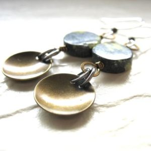 Shop Serpentine Earrings! Stone Earrings, Serpentine Earrings, Gemstone Jewelry, Dome Earrings, Gemstone Earrings, Metalwork Jewelry, Stone Jewelry, Made in USA | Natural genuine Serpentine earrings. Buy crystal jewelry, handmade handcrafted artisan jewelry for women.  Unique handmade gift ideas. #jewelry #beadedearrings #beadedjewelry #gift #shopping #handmadejewelry #fashion #style #product #earrings #affiliate #ad