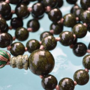 Shop Serpentine Necklaces! Green 8mm Russian Serpentine Hand Knotted Buddhist Mala Beads Necklace – For opening Heart Chakra, Cellular Regeneration, Kundalini Awakeni | Natural genuine Serpentine necklaces. Buy crystal jewelry, handmade handcrafted artisan jewelry for women.  Unique handmade gift ideas. #jewelry #beadednecklaces #beadedjewelry #gift #shopping #handmadejewelry #fashion #style #product #necklaces #affiliate #ad