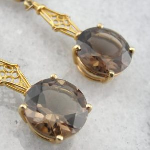 Shop Smoky Quartz Earrings! Beautiful Filigree and Brown Smoky Quartz in 14k yellow Gold Earrings 1XLEPU-P | Natural genuine Smoky Quartz earrings. Buy crystal jewelry, handmade handcrafted artisan jewelry for women.  Unique handmade gift ideas. #jewelry #beadedearrings #beadedjewelry #gift #shopping #handmadejewelry #fashion #style #product #earrings #affiliate #ad