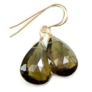 Shop Smoky Quartz Earrings! Green Olive Smoky Quartz Earrings Teardrop Fat Extra Large Long Natural Smokey 14k Solid Gold or Yellow or Rose Filled or Sterling Silver | Natural genuine Smoky Quartz earrings. Buy crystal jewelry, handmade handcrafted artisan jewelry for women.  Unique handmade gift ideas. #jewelry #beadedearrings #beadedjewelry #gift #shopping #handmadejewelry #fashion #style #product #earrings #affiliate #ad