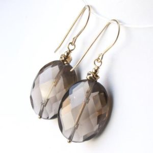 Shop Smoky Quartz Earrings! Smokey Quartz Gold Filled Earrings natural gemstone bohemian statement oval dangle drops birthday anniversary mothers day gift for her 5953 | Natural genuine Smoky Quartz earrings. Buy crystal jewelry, handmade handcrafted artisan jewelry for women.  Unique handmade gift ideas. #jewelry #beadedearrings #beadedjewelry #gift #shopping #handmadejewelry #fashion #style #product #earrings #affiliate #ad