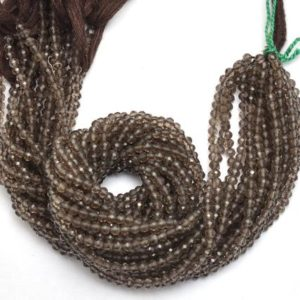 Shop Smoky Quartz Faceted Beads! Smoky Quartz Faceted Round Gemstone 3mm-4mm Beads | 13inch Strand| Natural Brown Somky Quartz Semi Precious Gemstone Loose Beads for Jewelry | Natural genuine faceted Smoky Quartz beads for beading and jewelry making.  #jewelry #beads #beadedjewelry #diyjewelry #jewelrymaking #beadstore #beading #affiliate #ad