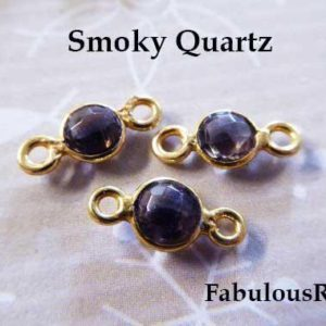 Shop Smoky Quartz Pendants! Gemstone Connectors Links SMOKY QUARTZ Charm SMOKEY Quartz Pendant  24k Gold or Sterling Silver Bezel, 12×7 mm / mini sgc gcl5 gc ll | Natural genuine Smoky Quartz pendants. Buy crystal jewelry, handmade handcrafted artisan jewelry for women.  Unique handmade gift ideas. #jewelry #beadedpendants #beadedjewelry #gift #shopping #handmadejewelry #fashion #style #product #pendants #affiliate #ad