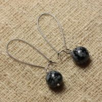 Earrings Gemstone – 10mm Snowflake Obsidian Earrings | Natural genuine Gemstone jewelry. Buy crystal jewelry, handmade handcrafted artisan jewelry for women.  Unique handmade gift ideas. #jewelry #beadedjewelry #beadedjewelry #gift #shopping #handmadejewelry #fashion #style #product #jewelry #affiliate #ad
