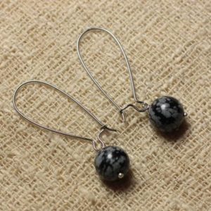 Shop Snowflake Obsidian Earrings! Earrings gemstone – 10mm snowflake Obsidian earrings | Natural genuine Snowflake Obsidian earrings. Buy crystal jewelry, handmade handcrafted artisan jewelry for women.  Unique handmade gift ideas. #jewelry #beadedearrings #beadedjewelry #gift #shopping #handmadejewelry #fashion #style #product #earrings #affiliate #ad