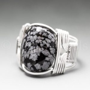 Shop Snowflake Obsidian Jewelry! Snowflake Obsidian Sterling Silver Wire Wrapped Gemstone Cabochon Ring – Optional Oxidation/Antiquing – Made to Order, Ships Fast! | Natural genuine Snowflake Obsidian jewelry. Buy crystal jewelry, handmade handcrafted artisan jewelry for women.  Unique handmade gift ideas. #jewelry #beadedjewelry #beadedjewelry #gift #shopping #handmadejewelry #fashion #style #product #jewelry #affiliate #ad