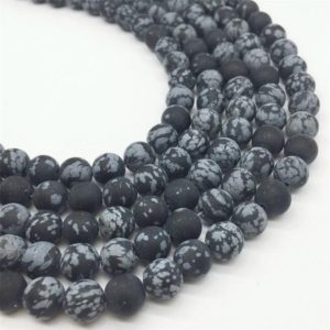 Shop Snowflake Obsidian Round Beads! 10mm Matte Snowflake Obsidian Beads, Round Gemstone Beads, Wholesale Beads | Natural genuine round Snowflake Obsidian beads for beading and jewelry making.  #jewelry #beads #beadedjewelry #diyjewelry #jewelrymaking #beadstore #beading #affiliate #ad