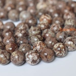 "Shop Snowflake Obsidian Beads! 15.5"" Natural Chinese Snowflake Obsidian 6mm/8mm/10mm round beads,coffee grey semi-precious stone, Autumn brown leaf color stone beads, 