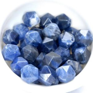 """Shop Sodalite Faceted Beads! 10MM Blue Sodalite Beads Star Cut Faceted Grade AAA Genuine Natural Gemstone Loose Beads 14.5"""" LOT 1,3,5,10 and 50 (80005160-M17) 