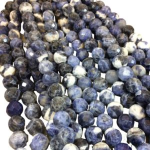 """Shop Sodalite Faceted Beads! 10mm Natural Mixed Sodalite Faceted Round / ball Shaped Beads With 2.5mm Holes – 7.75"""" Strand (approx. 20 Beads) – Large Hole Beads 