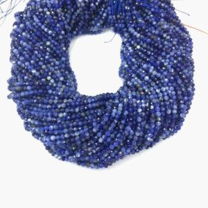 Shop Sodalite Faceted Beads! Tiny Sodalite Beads Micro Faceted 2 mm 3mm 4mm Natural Blue  Gemstone  Blue Tiny Beads Small Sodalite Beads Tiny Spacer Beads  Wholesale | Natural genuine faceted Sodalite beads for beading and jewelry making.  #jewelry #beads #beadedjewelry #diyjewelry #jewelrymaking #beadstore #beading #affiliate #ad