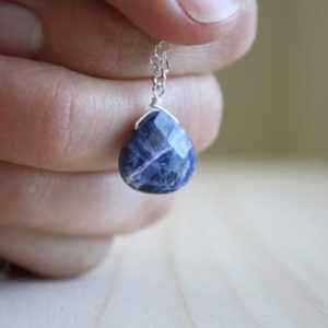 Sodalite Necklace for Women . Blue Drop Necklace Silver . Natural Stone Necklace Crystal Healing | Natural genuine Gemstone necklaces. Buy crystal jewelry, handmade handcrafted artisan jewelry for women.  Unique handmade gift ideas. #jewelry #beadednecklaces #beadedjewelry #gift #shopping #handmadejewelry #fashion #style #product #necklaces #affiliate #ad