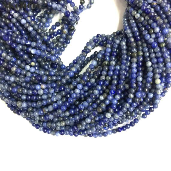 Tiny Sodalite Beads Smooth 2 Mm 3mm Natural Blue  Gemstone  Blue Tiny Beads Small Sodalite Beads Tiny Spacer Beads  Wholesale