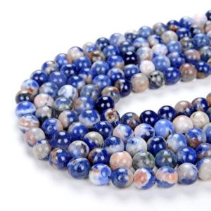 Shop Sodalite Round Beads! Sodalite Blue Orange Gemstone Grade AAA Round 6MM 8MM Loose Beads BULK LOT 1,2,6,12 and 50 (D3) | Natural genuine round Sodalite beads for beading and jewelry making.  #jewelry #beads #beadedjewelry #diyjewelry #jewelrymaking #beadstore #beading #affiliate #ad