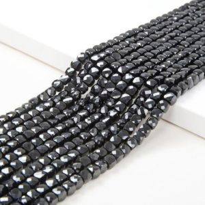 Shop Spinel Faceted Beads! 4MM Black Spinal Gemstone Grade AAA Micro Faceted Square Cube Loose Beads (P5)   Natural genuine faceted Spinel beads for beading and jewelry making.  #jewelry #beads #beadedjewelry #diyjewelry #jewelrymaking #beadstore #beading #affiliate #ad