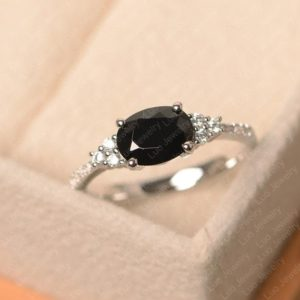 Shop Spinel Rings! Black spinel ring, oval cut , black stone ring, white gold anniversary ring   Natural genuine Spinel rings, simple unique handcrafted gemstone rings. #rings #jewelry #shopping #gift #handmade #fashion #style #affiliate #ad