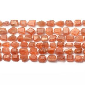 Shop Sunstone Chip & Nugget Beads! Aaa+ Sunstone Gemstone 6mm-8mm Faceted Nugget Beads | Natural Sunstone Fiery Tumbled Semi Precious Gemstone Beads For Jewelry | 7inch Strand | Natural genuine chip Sunstone beads for beading and jewelry making.  #jewelry #beads #beadedjewelry #diyjewelry #jewelrymaking #beadstore #beading #affiliate #ad