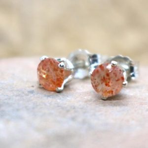 Shop Sunstone Earrings! Sunstone Stud Earrings, Silver Sparkly Sunstone Ear Studs, Sunstone Earrings, Dainty Orange Studs, Gift for Her, Good Luck Stone Earrings | Natural genuine Sunstone earrings. Buy crystal jewelry, handmade handcrafted artisan jewelry for women.  Unique handmade gift ideas. #jewelry #beadedearrings #beadedjewelry #gift #shopping #handmadejewelry #fashion #style #product #earrings #affiliate #ad
