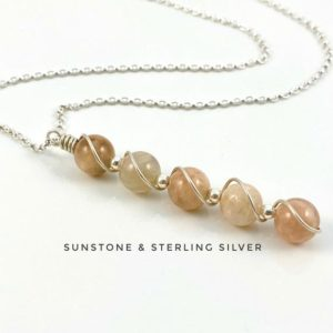 Shop Sunstone Necklaces! Sunstone gemstone necklace with sterling silver | Natural genuine Sunstone necklaces. Buy crystal jewelry, handmade handcrafted artisan jewelry for women.  Unique handmade gift ideas. #jewelry #beadednecklaces #beadedjewelry #gift #shopping #handmadejewelry #fashion #style #product #necklaces #affiliate #ad