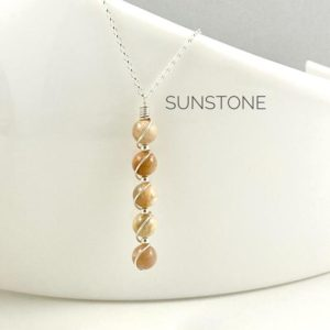 Shop Sunstone Necklaces! Sunstone Necklace, Sterling Silver, Crystal Necklace | Natural genuine Sunstone necklaces. Buy crystal jewelry, handmade handcrafted artisan jewelry for women.  Unique handmade gift ideas. #jewelry #beadednecklaces #beadedjewelry #gift #shopping #handmadejewelry #fashion #style #product #necklaces #affiliate #ad
