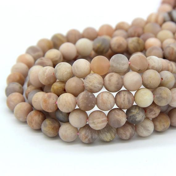 Matte Sunstone Beads 6mm 8mm 10mm Natural Frosted Sunstone Peach Mala Beads Peach Gemstone Beads Pink Beads Orange Gemstone Orange Mala