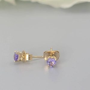 Shop Tanzanite Earrings! Natural Tanzanite Earrings, Dainty Tanzanite Studs in 14k Solid Gold, Heart earrings, December Birthstone, Jewelry gift, Small earrings | Natural genuine Tanzanite earrings. Buy crystal jewelry, handmade handcrafted artisan jewelry for women.  Unique handmade gift ideas. #jewelry #beadedearrings #beadedjewelry #gift #shopping #handmadejewelry #fashion #style #product #earrings #affiliate #ad