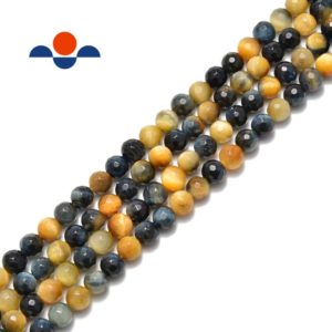 "Shop Tiger Eye Faceted Beads! Golden Blue Tiger Eye Faceted Round Beads 6mm 8mm 10mm 15.5"" Strand 