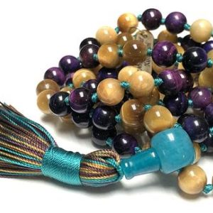Yellow Tiger Eye and Purple Tigers Eye Mala Necklace 108 Protection Bead Necklace for men women 108 knotted mala necklace Tiger Eye Jewelry | Natural genuine Gemstone necklaces. Buy handcrafted artisan men's jewelry, gifts for men.  Unique handmade mens fashion accessories. #jewelry #beadednecklaces #beadedjewelry #shopping #gift #handmadejewelry #necklaces #affiliate #ad