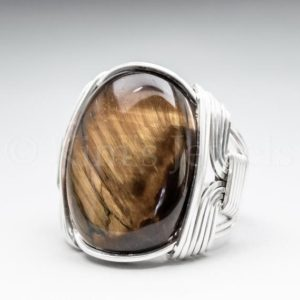 Golden Tigers Eye Gemstone 18x25mm Cabochon Sterling Silver Wire Wrapped Ring -Optional Oxidation/Antiquing – Made to Order and Ships Fast! | Natural genuine Gemstone rings, simple unique handcrafted gemstone rings. #rings #jewelry #shopping #gift #handmade #fashion #style #affiliate #ad
